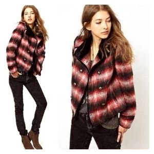 FREE PEOPLE Plaid Fuzzy Double Breasted Jacket L